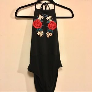Boohoo Flower Patched Bodysuit